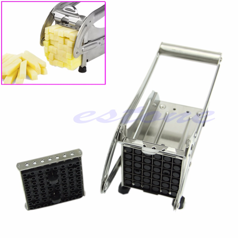 Potato Cutter Stainless Steel Restaurant French Fry Potato Vegetable Cutter Maker Slicer Chopper Silver Kitchen Products