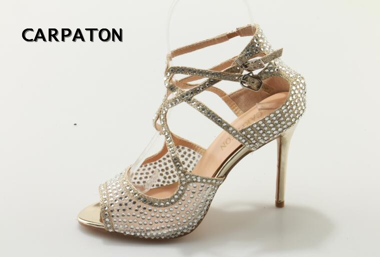 Carpaton Brand 2018 Newest Crystal Embellished High Heel Sandal Sexy Peep Toe Wedding heels cutouts thin heels sandal
