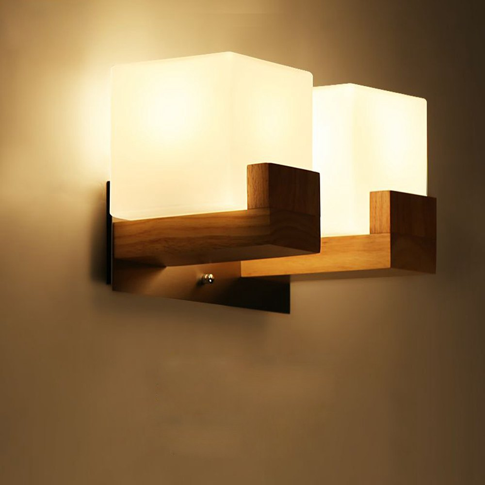 Bedroom wall light fixtures - Contracted Japanese Wooden Corridor Wall Lamp Chinese Bedroom Wall Sconce Glass Cube Bedsides Stair Case Wall