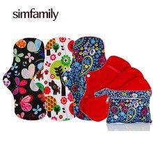 [simfamily] 3 Sets Reusable Waterproof Regular Flow Menstrual Cloth Sanitary Pads Set + 1 pc Mini Wet Bag