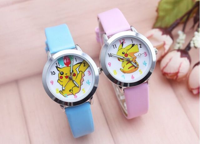 Cartoon Pikachu Smiling face gift quartz watches for children promotion gift leather wristwatches sports watches 10pcs