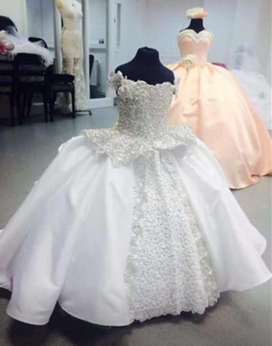 Actual Image White Flower Girl Dresses Princess Ball Gown Pearls Lace Up Child Birthday Gown First Communion Dress Custom Made
