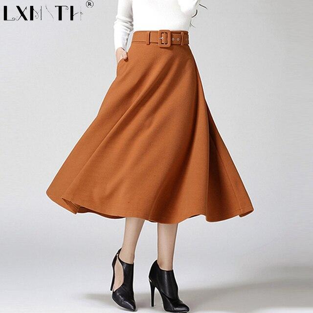2019 invierno falda de longitud de mezcla de lana cinturón de falda de una  línea de 58c08cd06375