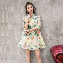 2018 new hot sale!retro mordern sexy chinese tang suit qipao costumes dragon phoenix short cheongsam dresses chinese traditional