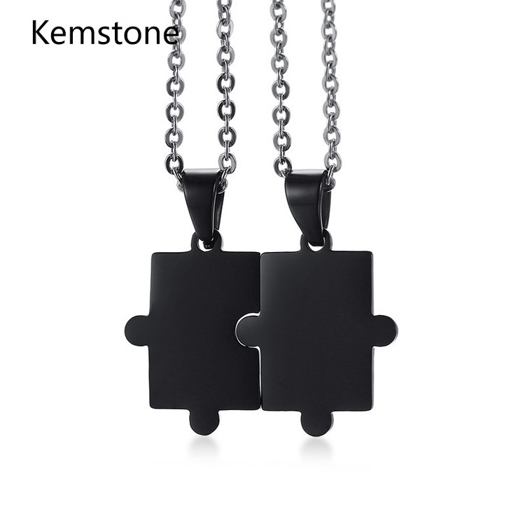 Kemstone Couple Jewelry Black Stainless Steel Couple Puzzle Pendants