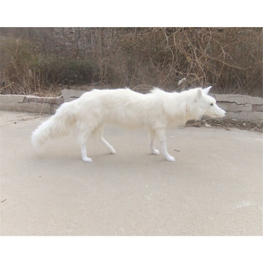 Fancytrader Beautiful Simulation Fox Toy White Brown Made of Polyethylene and Furs Realistic Animals Doll Decoration Props