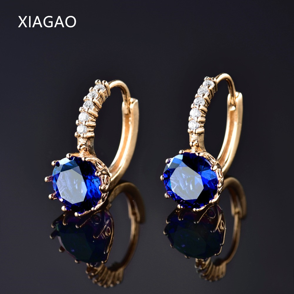 XIAGAO Sparking Classic Hearts & Arrows Earring 24K Yellow Gold Plated Hoop Earrings Zirconia Topaz Jewelry for Women Brinco