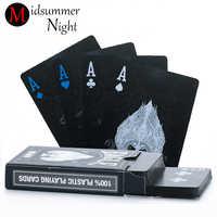 55pcs/deck poker waterproof plastic pvc playing cards set pure color black poker card sets classic magic tricks tool poker game