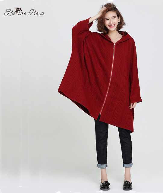 Women's Winter Clothing European Style Casual Bat wing Loose Coat