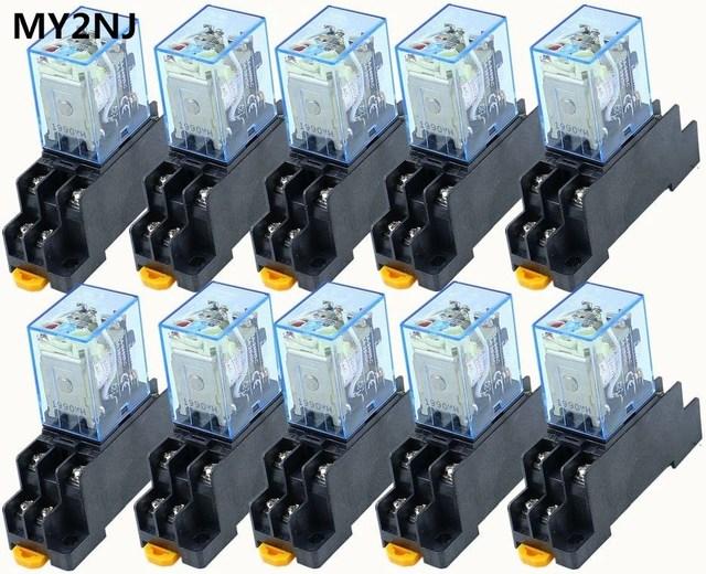 Mini relais avec prise, 10 pièces MY2P, HH52P MY2NJ 12V 24V DC / 110V 220V AC, bobine DPDT à usage général