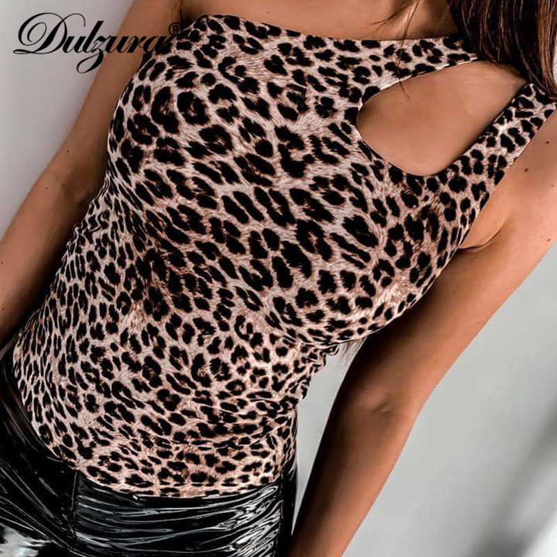 Dulzura Summer Women Bodysuit Leopard Print Sexy Hollow Out Sleeveless One Piece Festival Streetwear Rompers Clothes Ladies Body