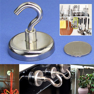 Image 1 - 2 Pcs Magnetic Hooks Power Hook Magnet Holder Super Heavy Neodymium Rare Earth 75kg Suction For Cup Key 2019