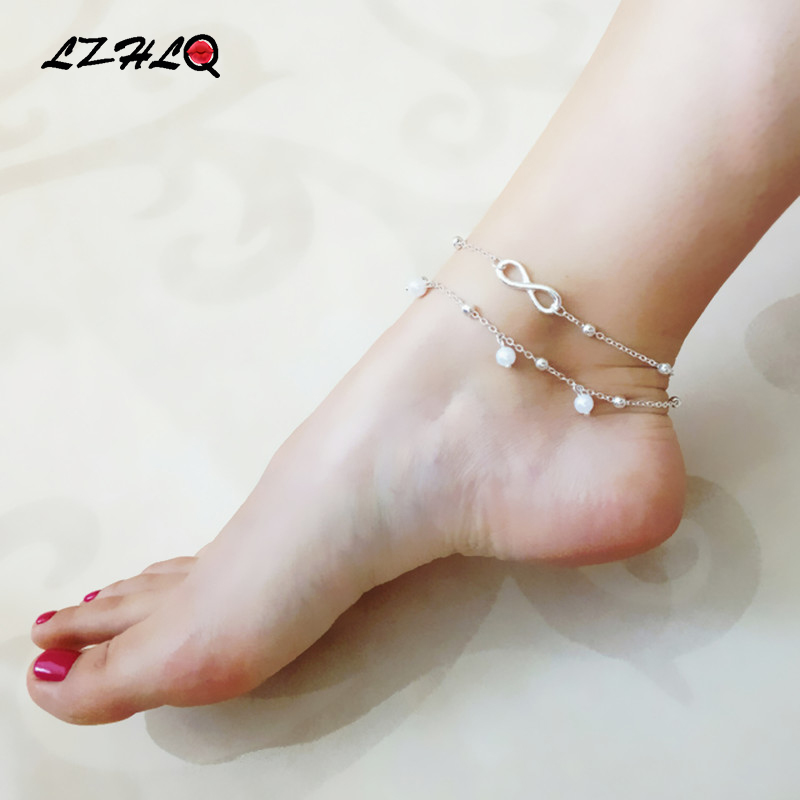 LZHLQ Geometric Metal Letter Anklet Bracelet Maxi Multilayer Foot - Fashion Jewelry - Photo 2