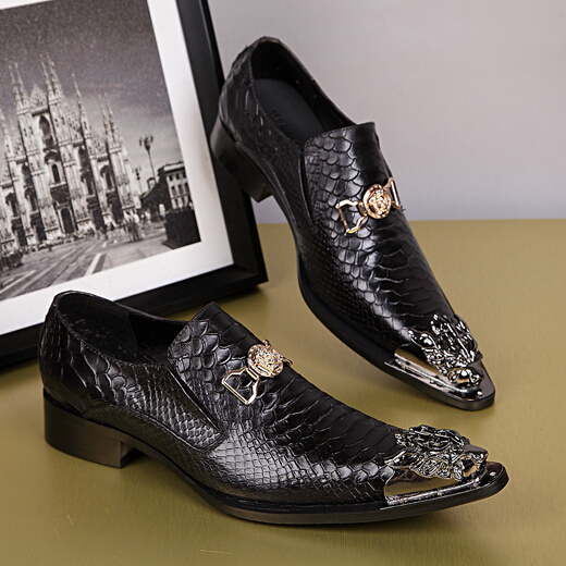 High Quality Black, Red, Brown Snakeskin Pattern Men Dress Shoes Slip On Flat  Shoes Men Oxford Shoes Metal Toe Zapatos Hombre-in Men's Casual Shoes from  ...