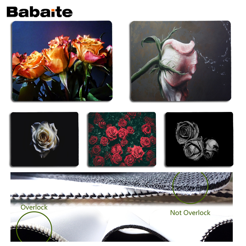 Babaite New Printed Roses Computer Gaming Mousemats Size for 180x220x2mm and 250x290x2mm Small Mousepad