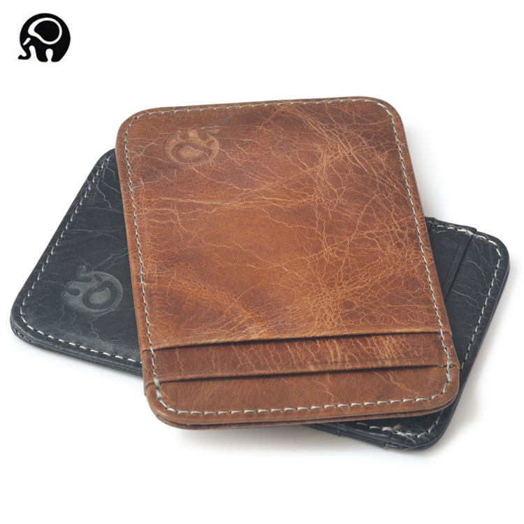 2017 Retro Genuine Leather Card Holder for Credit Bus card case Minimalist Wallet for Credit Cards Cardholder Business Card Bus