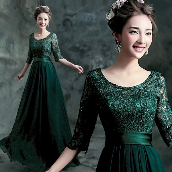 2016 Hot Sale Green Lace Scoop A Line Floor Length Half Sleeves