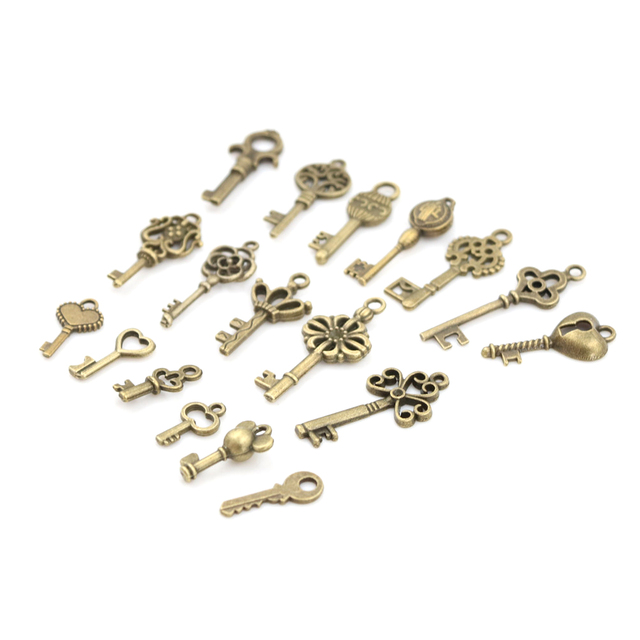 18pcs/sets Bronze Ornate Skeleton Keys Lot Antique Vintage Old Look Necklace Pendant Fancy Heart Decor DIY Craft Gifts 4