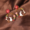 Les Nereides Luxury Rabbit Flowers Drop Earrings For Women Unique Enamel Brand Party Jewelry Good Quality