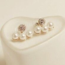 Fashion Earrings 2018 Rhinestone Three Imitation Pearl Geometric For Women Jewelry Accessories Gift