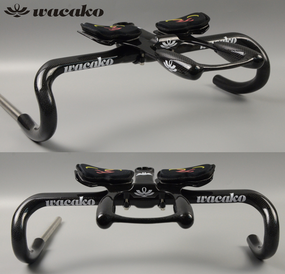 wacako Full Carbon Fiber Road Bicycle Integrated Handlebar with 28.6mm stem Carbon Road Handlebar Bike Parts bike accessories 3K ievele full carbon fiber road bicycle integrated handlebar with 28 6mm stem carbon road handlebar bike parts bike accessories