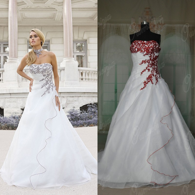 Red And White Lace Wedding Dress: Free Shipping Oumeiya Real Pictures ORW305 A Line Organza