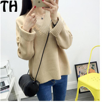 High Quality 2016 Autumn Winter Ladies V Neck Sweater New Thick Long Sleeved Jacket Fashion Solid