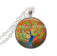 Tree Jewelry Magical Apple Tree Necklace Silver Plated Chain Necklaces Round Glass Dome Pendants Necklaces Vintage