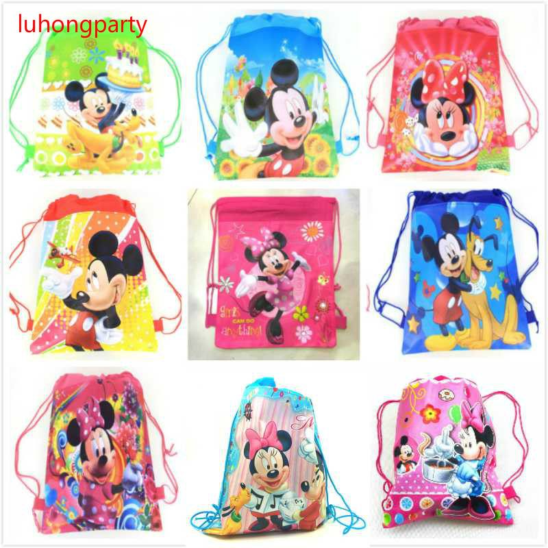 9pcs Cartoon Minnie Mickey Mouse Non-woven Fabrics Drawstring Backpack Schoolbag Shopping Bag LUHONGPARTY
