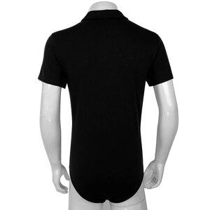 Image 4 - Mens Sexy Bodysuit Manga Curta Turn down Collar Snappies Camisa Virilha Bodysuit Romper Cueca