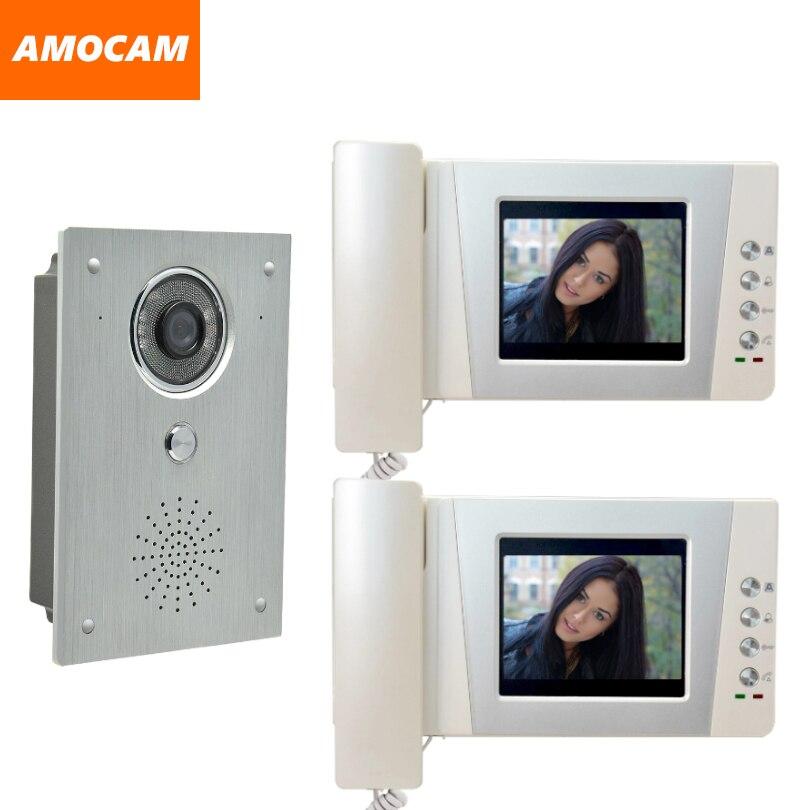 4.3 Telephone Monitor Video Doorbell Intercom System Aluminium alloy Camera  Video Door Phone interphone kit 2-Screen