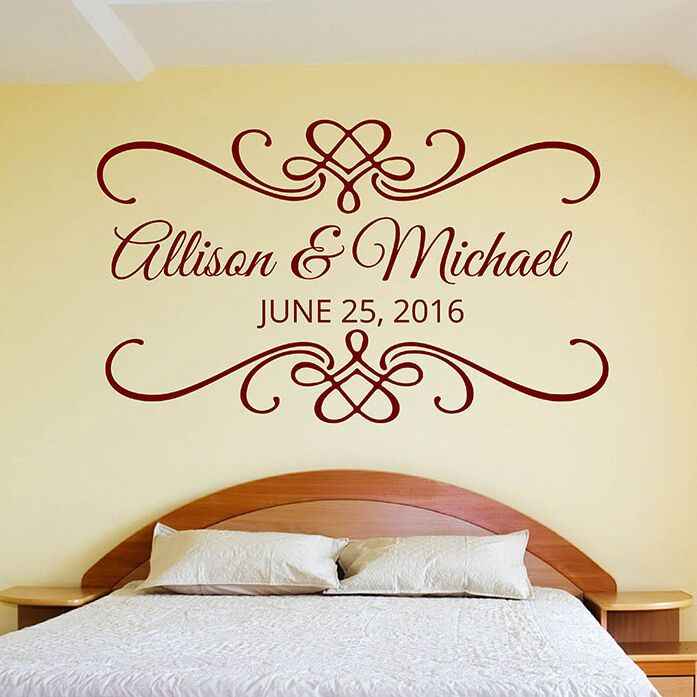 vinyl home decal for wedding or engagement party customized name