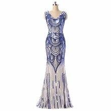 100% echt Bild Auf Lager V-ausschnitt Pailletten Lange Abendkleid Königsblau Formal Prom Abendkleid Plus Größe Müssen Extra gebühren