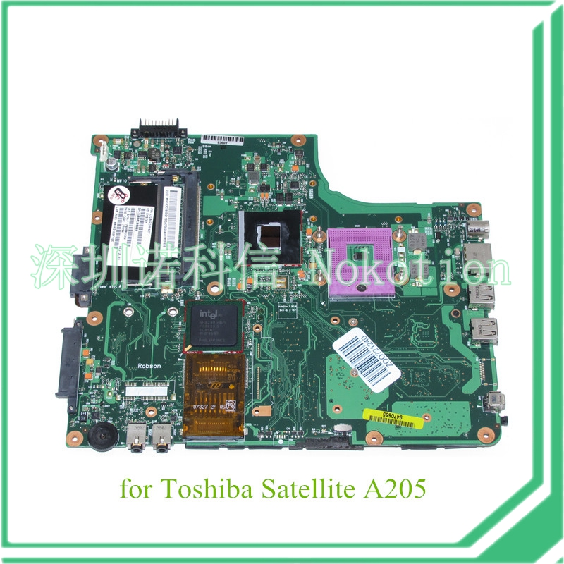 NOKOTION PN 1310A2109427 SPS V000108660 For toshiba satellite A200 A205 Laptop motherboard GM965 DDR2 k000055760 laptop motherboard for toshiba satellite a200 a205 iskaa la 3481p rev 2a intel gl960 ddr2 without graphcis slot