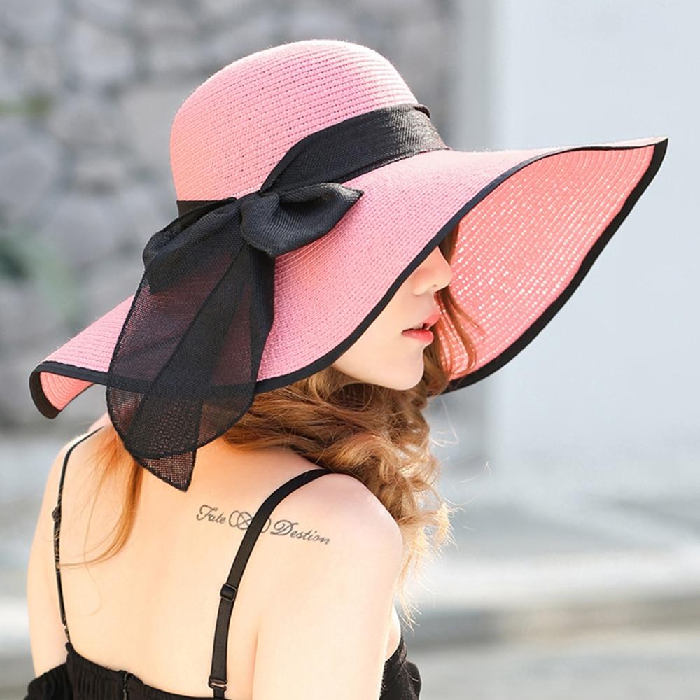 Summer Large Brim Straw Hat Foldable Floppy Wide Brim Sun Cap Bowknot Beach New