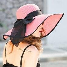 Women Sun Visor Hat Summer Hats Female large Brim Straw Folding Beach Girls Floppy Bowknot Foldable Wide Cap