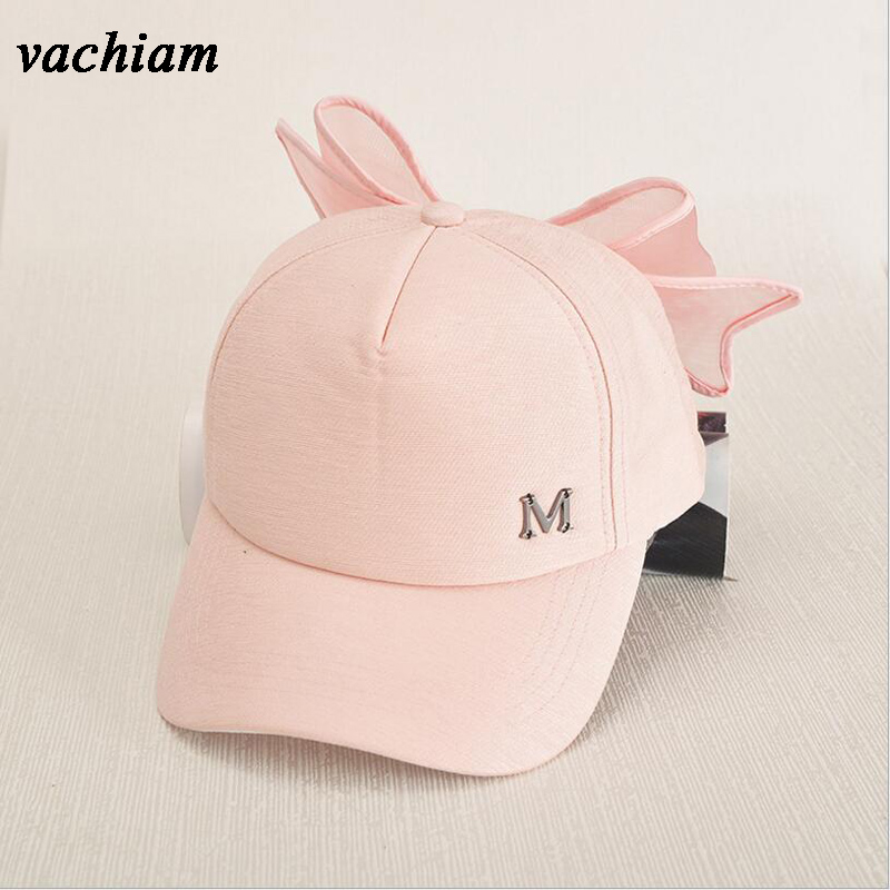 vachiam Girls Baseball Cap Fashion Mother Daughter Sun Cap Solid Bowknot Hat For Girls Wide Brim Summer Sun Cap Girls Clothing summer can be folded anti uv sun hat sun protection for children to cover the sun with a large cap on the beach bike travel