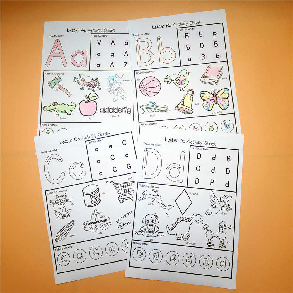 Alphabet Worksheets 26 Letters From-A-to-Z Practice Paper Preschool English  Homework Workbook Kids Games Education Toys Children