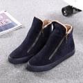O envio gratuito de 2016 mulheres sapatos botas de neve de inverno nova moda estilo cor sólida quente de pelúcia zip ankle boots das mulheres de alta qualidade