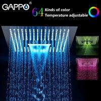GAPPO bathroom shower head Water Powered Led rainfall 400*400mm square head shower set faucet bath mixer waterfall bathroom