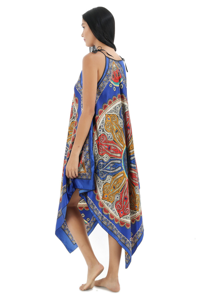 Vintage Blue Lady Satin Nightgown Women Nightwear Hot Sale Sleeveless Flowers Nighties Sexy Sleepwear Spaghetti Strap One Size