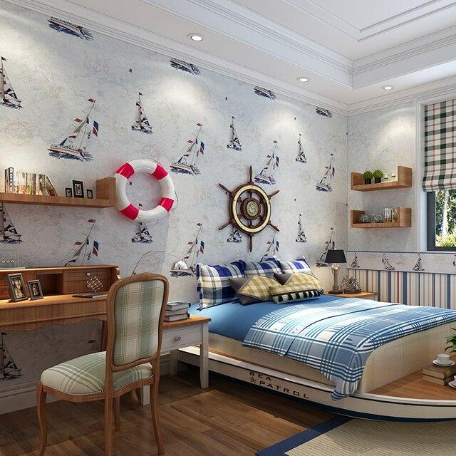 mediterranean sailboat kids room wallpaper wall paper roll for kids boy bedding room papel de