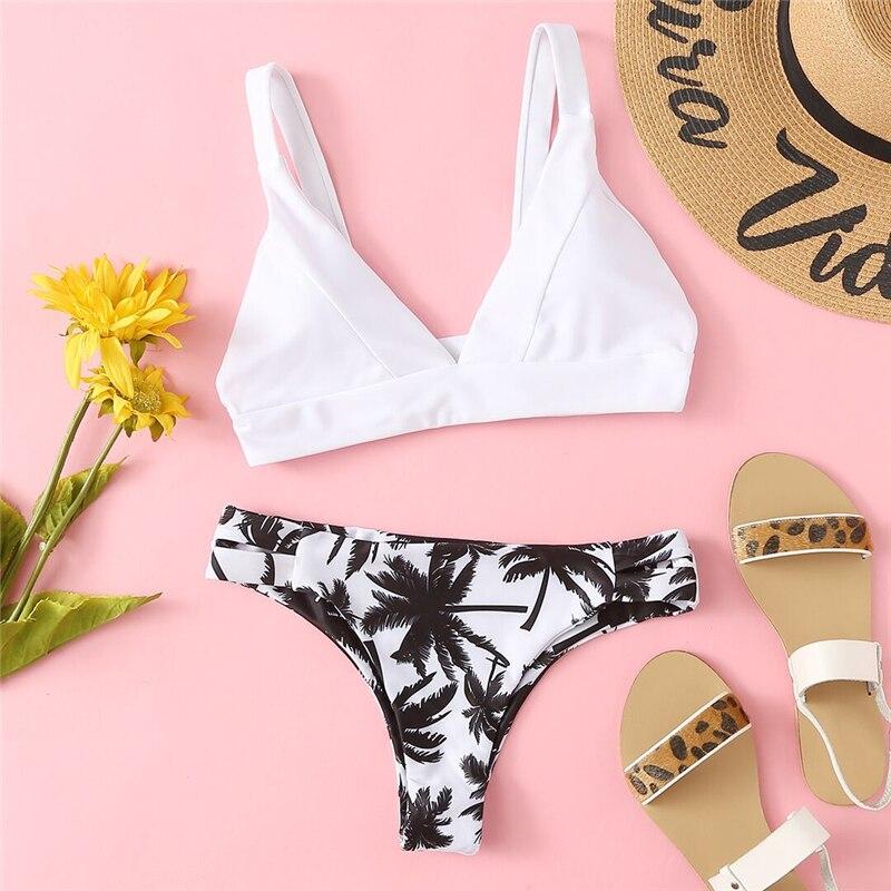 Romwe Sport Mix And Match Plunge Print Bikini Set Summer Beach Sexy Swimsuit With Chest Pad Women Multicolor Tropical Swimwear