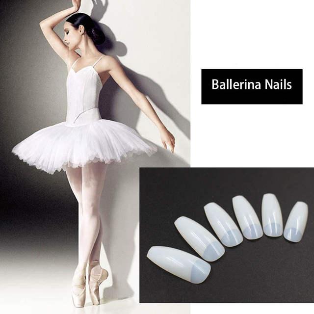 US $4.28 14% OFF|New 500pcs Square Half Nail Tips Long Ballerina False Nails High Quality Transparent Natural DIY Artificial Plastic Nail Art Tip in