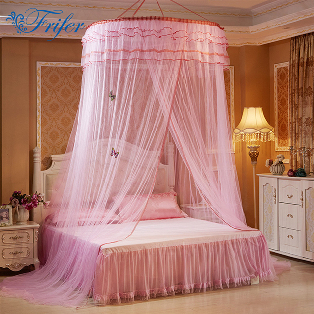 Luxury Romantic Hang Dome Mosquito Net Princess Students Insect Bed Canopy Netting Lace Round Mosquito Nets & Luxury Romantic Hang Dome Mosquito Net Princess Students Insect ...
