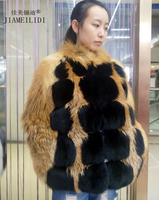 2017 new real fox fur full leather jacket short collar collar fashion red fox jacket warm lady fur coat