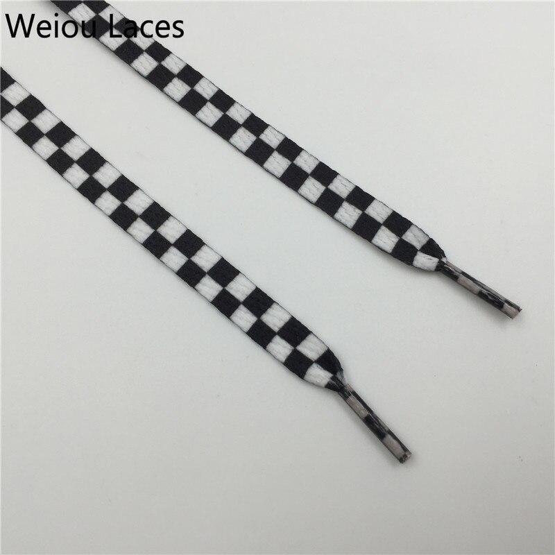 Laço preto e branco liso da sapata da grade de weiou sublimado impressão poliéster xadrez fitas cadarços resistente do laço da sapatilha