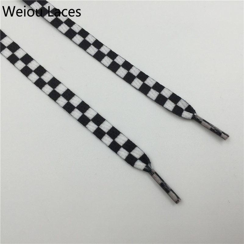 Weiou Flat Black And White Grid Shoe Lace Sublimated Printing Polyester Checkered Ribbons Shoelaces Heavy Duty Sneaker Lacing