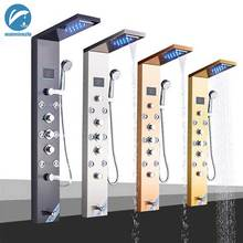 LED Shower Panel Bath Shower Faucet Temperature Digital Display Tub Faucet Body Massage System Jets Tower Shower Column Faucet