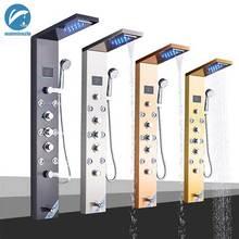 LED פנל מקלחת אמבטיה מקלחת ברז טמפרטורת תצוגה דיגיטלית אמבטיה ברז גוף עיסוי מערכת מטוסי מגדל טור מקלחת ברז